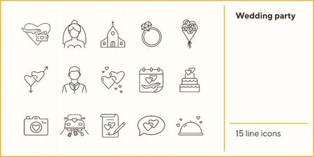 Wedding party line icons. Wedding arch, just married car, balloons. Wedding concept. Vector illustration can be used for topics like marriage, family, love