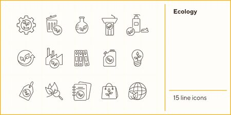 Ecology line icons. Set of line icons. Paperbag, gearwheel, light bulb. Eco technology concept. Vector illustration can be used for topics like ecology, technology, environment