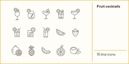 Fruit cocktails icons. Set of line icons. Coconut, pineapple. Beverage concept. Vector illustration can be used for topics like advertising, business