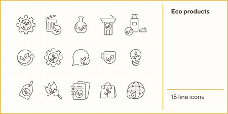 Eco products icons. Set of line icons. Notebook, liquid soap, light bulb. Eco technology concept. Vector illustration can be used for topics like ecology, technology, environment Illustration