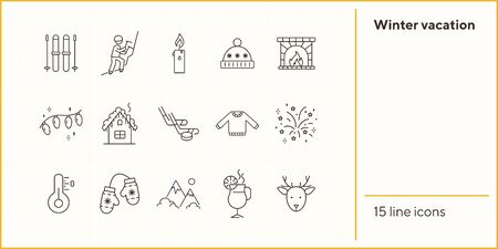 Winter vacation line icon set with warm clothes. Mountains, hot drink, mitten, fireplace. Hello winter concept. Can be used for topics like New year, holidays, outdoor activity Illustration