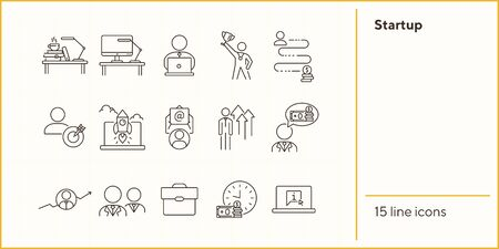 Startup line icon set. Rocket, entrepreneur, growth diagram. Business concept. Can be used for topics like leadership, success, investment