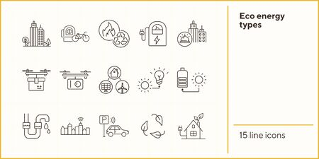 Eco energy types icons. Set of line icons. Sun and bulb, leaves, city alarm. Alternative energy concept. Vector illustration can be used for topics like environment, ecology, technology Standard-Bild - 147693117