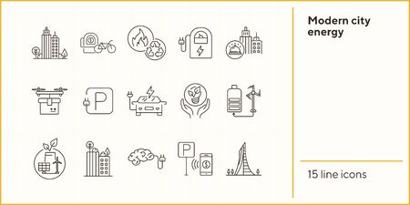 Modern city energy icons. Set of line icons. Quadcopter with box, car charging station, windmill. Alternative energy concept. Vector illustration can be used for topics like environment, ecology Illustration