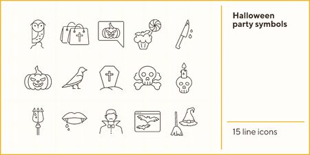 Halloween party symbols line icons. Broom and hat, vampire teeth, trident. Halloween concept. Vector illustration can be used for topics like holiday, festivals, celebration