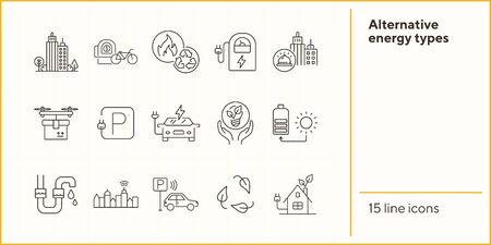Alternative energy types icons. Set of line icons. Sun charge, quadcopter with box, bike rent. Alternative energy concept. Vector illustration can be used for topics like environment, ecology