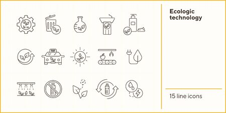 Ecologic technology icons. Set of line icons. Dustbin, plant, recycling. Eco technology concept. Vector illustration can be used for topics like ecology, technology, environment Illustration