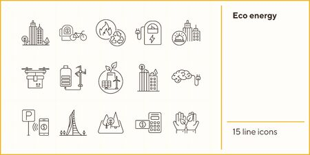 Eco energy icons. Set of line icons. Brain with plug, forest, calculator with banknote. Alternative energy concept. Vector illustration can be used for topics like environment, ecology, technology Illustration