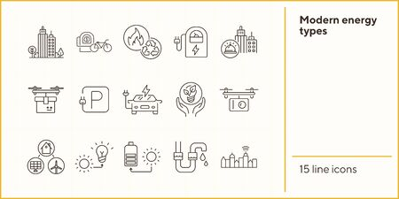 Modern energy types icons. Set of line icons. Electrical car park, quadcopter with camera, bike rent. Alternative energy concept. Vector illustration can be used for topics like environment, ecology