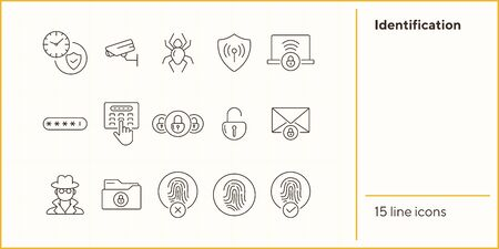 Identification line icons. Set of line icons. Spider, envelope with padlock. Internet security concept. Vector illustration can be used for topics like information security, computing