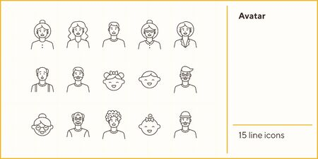 Avatar icons. Set of line icons on white background. Woman, senior man, little girl. People concept. Vector illustration can be used for topics like application, lifestyle, population