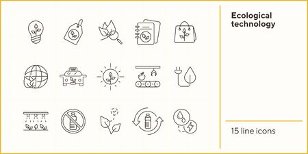 Ecological technology icons. Set of line icons. No plastic, recycling, label. Eco technology concept. Vector illustration can be used for topics like ecology, technology, environment