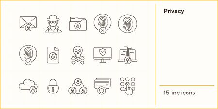 Privacy line icons. Set of line icons. Cloud with padlock, screen with shield. Internet security concept. Vector illustration can be used for topics like information security, computing
