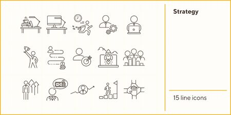 Strategy line icon set. Businessman, late for work, leader, goal. Business concept. Can be used for topics like success, achievement, career promotion, growth 일러스트