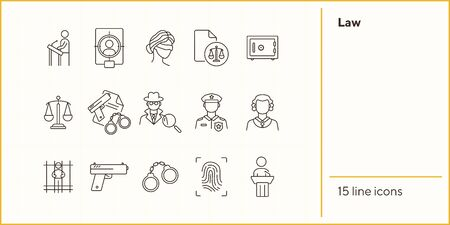 Law line icon set. Police officer, detective, judge, courthouse. Justice concept. Can be used for topics like investigation, crime, punishment Çizim