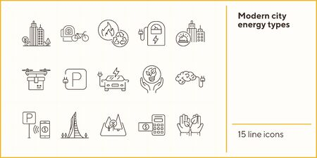 Modern city energy types icons. Set of line icons. Hands holding plant, electro car, bike rent. Alternative energy concept. Vector illustration can be used for topics like environment, ecology