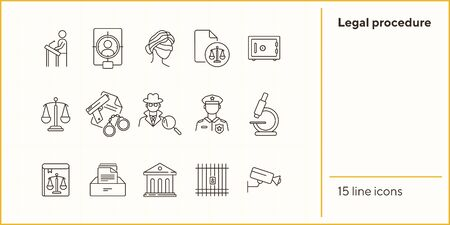 Legal procedure line icon set. Lawyer, attorney, detective, courthouse. Justice concept. Can be used for topics like trial, court, prison, investigation Stok Fotoğraf - 147693839