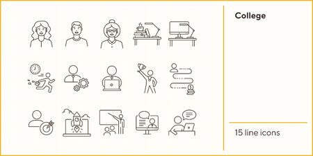 College line icon set. Teacher, student, training. Education concept. Can be used for topics like knowledge, development, university 向量圖像