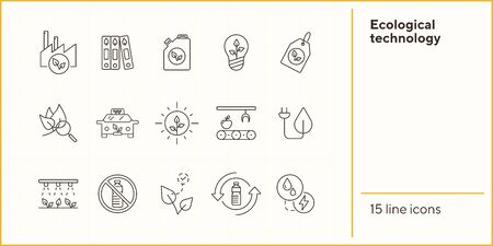 Ecological technology line icons. Set of line icons. Petrol, taxi, label. Eco technology concept. Vector illustration can be used for topics like ecology, technology, environment