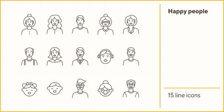 Happy people icons. Set of line icons on white background. Teenage boy, grandmother, grandfather. People concept. Vector illustration can be used for topics like application, lifestyle, family Illustration