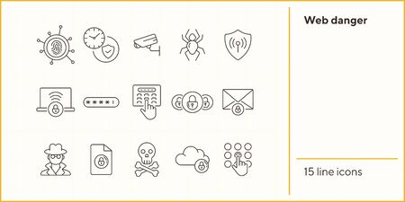 Web danger icons. Set of line icons. Spider, surveillance camera. Internet security concept. Vector illustration can be used for topics like information security, computing