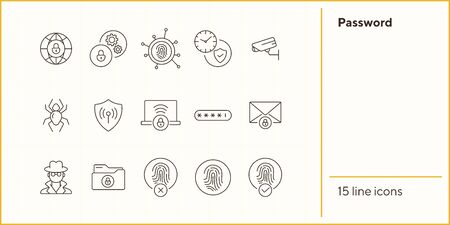 Password line icons. Set of line icons. Cloud with padlock, fingerprint. Internet security concept. Vector illustration can be used for topics like information security, computing