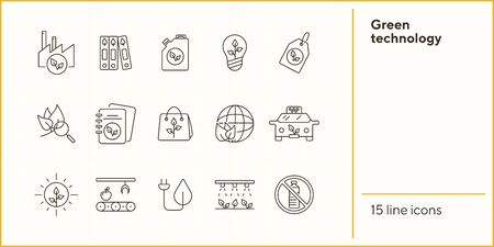 Green technology line icons. Set of line icons. Plant, recycling, taxi. Eco technology concept. Vector illustration can be used for topics like ecology, technology, environment Standard-Bild - 147654972