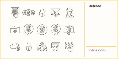Defense line icons. Set of line icons. Cloud with padlock, fingerprint. Internet security concept. Vector illustration can be used for topics like information security, computing