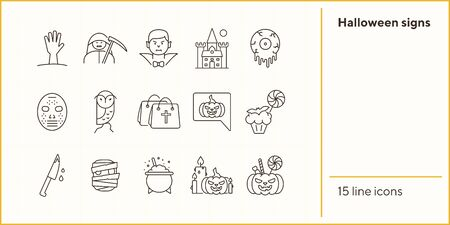 Halloween signs line icons. Bags with cross, vampire, pumpkin. Halloween concept. Vector illustration can be used for topics like holiday, festivals, celebration