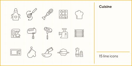 Cuisine line icons. Set of line icons. Pinafore, microwave oven, blender. Culinary concept. Vector illustration can be used for topics like restaurant business, cooking Ilustração