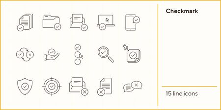 Checkmark line icons. Set of line icons. Letter with checkmark, approved documents. Approval concept. Vector illustration can be used for topics like work, business Ilustrace