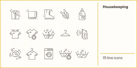 Housekeeping line icon set. Basin, hand washing, clothing. Laundry concept. Can be used for topics like domestic work, household, routine Stock Illustratie