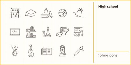 High school icons. Set of line icons. Abacus, medal, academic cap. Education concept. Vector illustration can be used for topics like study, schooling, knowledge 向量圖像