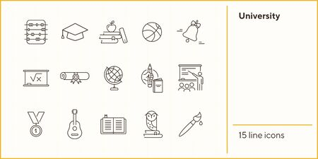 University line icon set. Knowledge, subject, webinar. Higher education concept. Can be used for topics like research, studying, intelligence