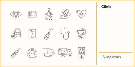 Clinic icons. Set of line icons. Stethoscope, nasal spray, x-ray, lab test tubes. Hospital concept. Vector illustration can be used for topics like healthcare, medicine, treatment