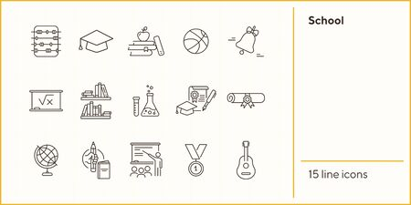 School icons. Set of line icons. Chemistry class, diploma, bookshelves. Studying concept. Vector illustration can be used for topics like education, university, scholarship 向量圖像