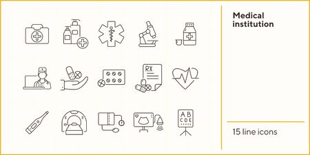 Medical institution icons. Set of line icons. Blister, medical soap, ultrasound scanner. Medical examination concept. Vector illustration can be used for topics like medicine, healthcare, diagnostics