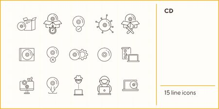 CD line icons. Set of line icons. Hacker, CD installation, download from CD. Data storage concept. Vector illustration can be used for topics like computers, technology, software