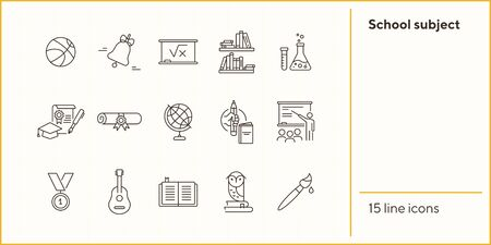 School subject line icon set. Knowledge, school, science. Studying concept. Can be used for topics like education, webinar, college 向量圖像