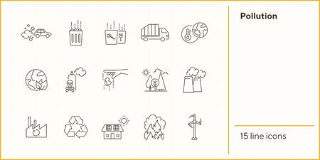 Pollution line icon set. Exhaust fumes, waste bin, factory, fire hazard. Environment concept. Can be used for topics like global ecology, nature, ecological disaster
