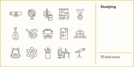 Studying line icon set. Subject, webinar, teaching. School concept. Can be used for topics like education, college, knowledge