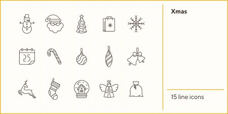 Xmas thin line icon set. Christmas cane, Santa Claus, reindeer sign pack. Winter holidays concept. Vector illustration symbol elements for web design and apps Иллюстрация