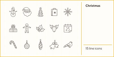Christmas thin line icon set. Snowman, gingerbread, Santa Claus sign pack. Winter holidays concept. Vector illustration symbol elements for web design and apps Иллюстрация