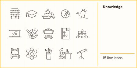 Knowledge line icon set. School, exam, intelligence. Education concept. Can be used for topics like studying, teaching, college 向量圖像