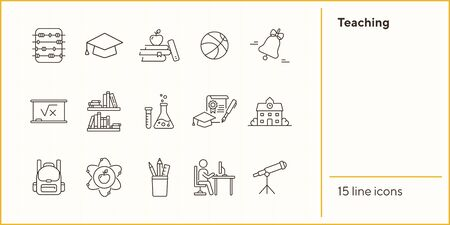 Teaching line icon set. Library, knowledge, class. Subject concept. Can be used for topics like school, education, science 向量圖像