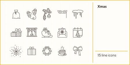 Xmas line icon collection. Gift, fireplace, hot chocolate sign pack. Winter holidays concept. Vector illustration symbol elements for web design and apps