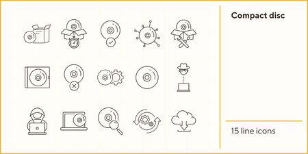 Compact disc icons. Set of line icons. Unavailable CD, setting SD, download from cloud. Software product concept. Vector illustration can be used for topics like application, technology, data storage