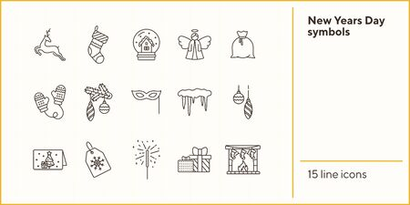 New Years Day symbols thin line icon set. Reindeer, mittens, icicles sign pack. Winter holidays concept. Vector illustration symbol elements for web design and apps Illusztráció