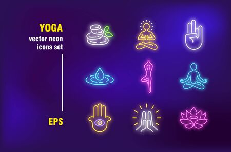 Yoga collection in neon style. Lotus, flat stones and balance. Vector illustrations for bright signboards. Meditation and relaxation concept