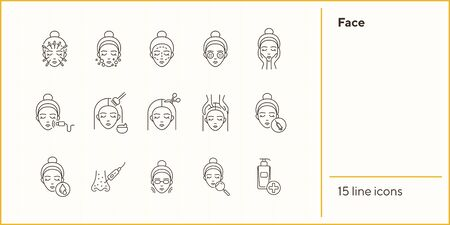 Face line icon set. Woman, female, head, massage, moistening, peeling. Beauty care concept. Can be used for topics like skin care, cosmetologist, dermatology Illusztráció
